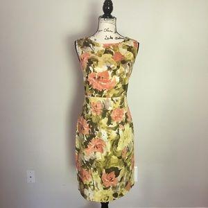 Ann Klein sleeveless watercolor floral dress.